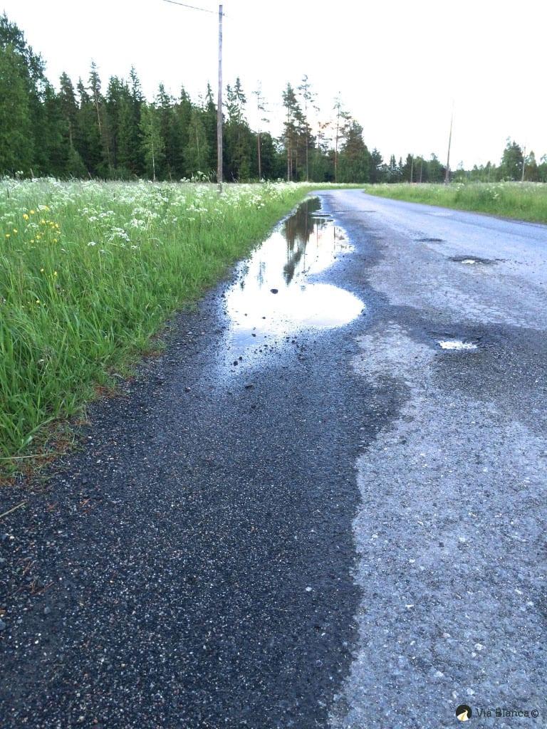 Vähäliikenteinen tie reunapalle padottaa vettä, 2015